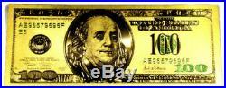 5 Troy Ounce. 999 Fine Silver Sunshine Minting Bar Bu + 99.9% 24k Gold $100 Bill