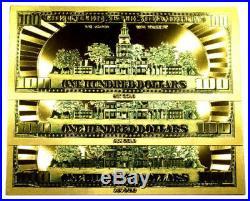 5 Troy Ounce. 999 Fine Silver Walking Liberty Bu + (3) 99.9% 24k Gold $100 Bills