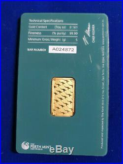 5 g gram Gold Bar -PERTH MINT 999.9 Fine in Sealed Assay SHIPS IN 1 DAY