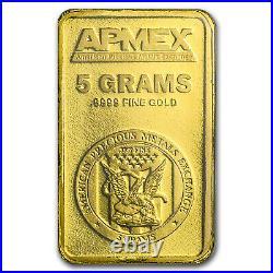 5 gram APMEX Gold Bar. 9999 Fine (In TEP Package)