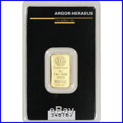 5 gram Gold Bar Argor Heraeus 999.9 Fine in Assay