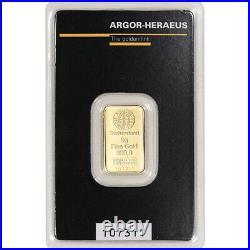 5 gram Gold Bar Argor Heraeus Kinebar Hologram 999.9 Fine in Assay