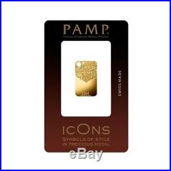 5 gram Gold Bar PAMP Suisse Chantilly Lace. 9999 Fine (In Assay)
