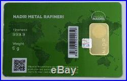 5 gram Nadir Gold Bar 999.9 Fine in Sealed Assay Card