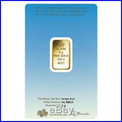 5 gram PAMP Suisse Gold Bar Lakshmi (in Assay). 9999 Fine