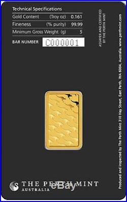 5 gram Perth Mint Gold Bar. 9999 Fine in Assay New design updated in 2018