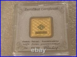 5 grams Geiger Original square. 999 fine gold bar in assay
