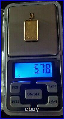 5gr 24K Fine Gold Suisse Lady Fortuna Bar/ 14K Solid Yellow Gold Bezel, 5.78 gr