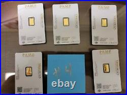 5x1 gram Gold Bar PAMP Suisse Fortuna 999.9 Fine in Sealed Assay