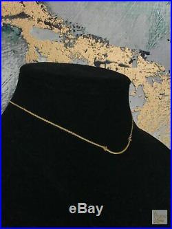 $800 TIFFANY & CO 750 18k Gold Small T Smile Bar Necklace SALE! EUC Fine Jewelry