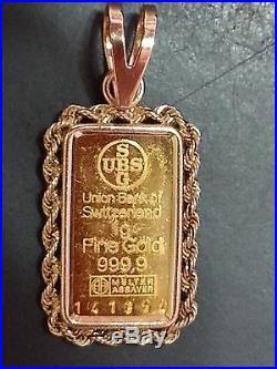 999.9 24K Fine Gold 1 gram UBS gold bar in 14K gold pendant