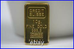 999.9 Fine Gold 10 Grams Credit Suisse Ingot 24K Gold Bar CHI Essayeur #952677