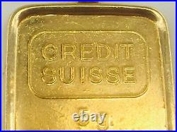 999 Credit Suisse 5.0 Grams Bar in 14K yellow gold bezel SN 944746 5.4gm