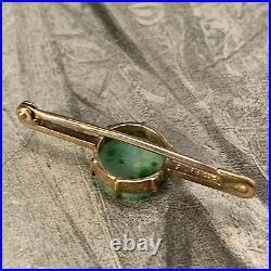 9ct Yellow Gold Carved Jade Bar Brooch, Petite Antique Art Deco Jadeite Pin