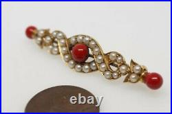 ANTIQUE 15K GOLD PEARL & CORAL RED ENAMEL KNOT BAR BROOCH c1890