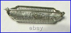 ANTIQUE ART DECO 10K WHITE GOLD DIAMOND FILIGREE BAR PIN BROOCH c1930's