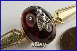 ANTIQUE ENGLISH 15K GOLD GARNET SILVER & DIAMOND BUG INSECT BAR BROOCH c1880