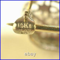 ANTIQUE PLATINUM & 14K WHITE GOLD DIAMOND EMERALD FILIGREE BAR / SCARF PIN 4 g