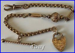 ANTIQUE SOLID 9ct GOLD ALBERTINA CHAIN BRACELET HEART T BAR DOG CLIP FASTENER