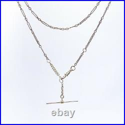 ANTIQUE Victorian 9k Rose Gold Paperclip Albert Watch Chain Necklace with T-Bar
