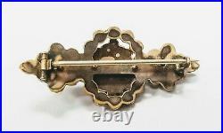ANTIQUE Victorian Rose Cut Bohemian Garnet Cluster Gold Filled GF Bar Pin Brooch