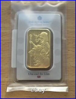A Royal Mint Una and the Lion 1oz 999.9 Fine Gold Bar