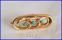 A Victorian 15ct Yellow Gold open work bar brooch. Collet set with Turquoise