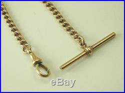 Albertine watch chain antique 9 carat gold 8 long T-bar swival clasp c. 1880 18g