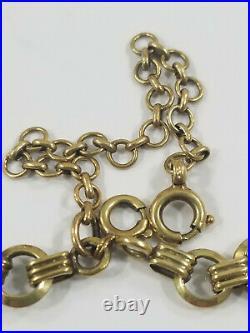 Antique 14K Gold CIRCLE and BAR Bracelet European 7