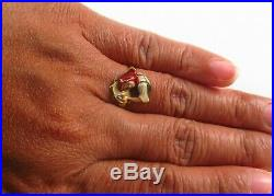 Antique 14k Gold Art Nouveau Enamel & Diamond Bavarian Bar Maid Ring Size 5.25