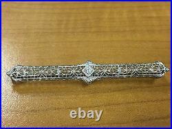 Antique 14k Gold & Platinum Top Diamond Filigree Bar Pin Brooch 3.4g