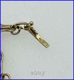 Antique 14k Yellow Gold Ornate Bar Link Chain Necklace 19 1/2