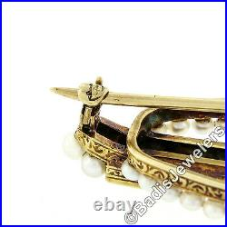 Antique 14k Yellow Gold Square Montana Blue Sapphire & Seed Pearl Bar Pin Brooch
