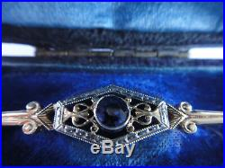 Antique 14k Yellow&White Gold Sapphire Bar Tie Brooch in Original Box