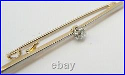 Antique 15ct gold Diamond set 1/5th carat Edwardian bar brooch in antique box