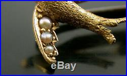 Antique 18ct Gold & Seed Pearl Bluebird Bar Brooch Boxed
