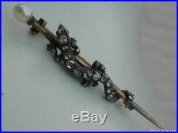 Antique 9ct Gold Victorian Rose Cut Diamond, Ruby & Pearl Lizard Bar Brooch