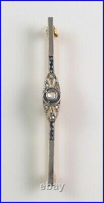 Antique Art Deco 18K Gold & Platinum Top Diamond & Sapphire Bar Brooch Pin