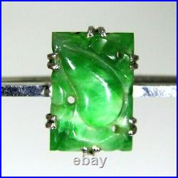 Antique Art Deco Chinese Carved Jade Gourd 9ct White Gold Bar Brooch