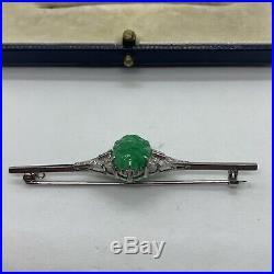 Antique Art Deco platinum 18k white gold A green jadeite jade diamond bar brooch
