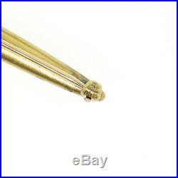 Antique Art Nouveau Krementz 14K Yellow Gold Enamel Daisy Flower Bar Pin Brooch