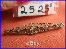 Antique Fabulous 14k Gold Art Deco Filigree Diamond & Sapphire Bar Pin Brooch