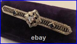 Antique Jewelry 14k White Gold Filigree BAR PIN with Diamond 1920s