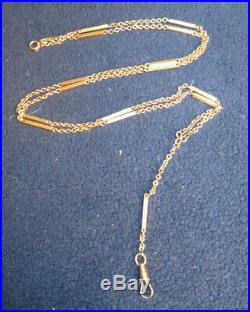 Antique Victorian 10k Rose Gold Watch Necklace Bar And Chain Pattern