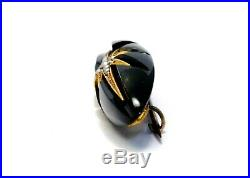 Antique Victorian 10k gold onyx seed pearl starburst bar pin brooch