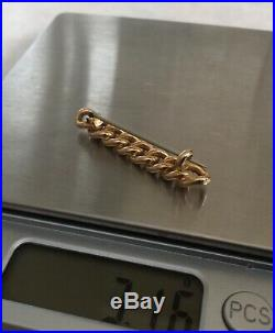 Antique Victorian 15k 15ct Gold Chain Link Bar Brooch Unusual Marked 15