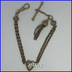 Antique Victorian 9ct Gold Albertina Bracelet Tassel & T Bar 14.25g
