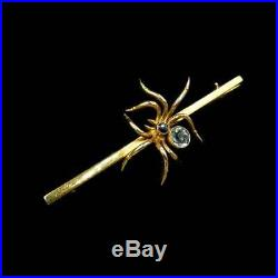 Antique Victorian Aquamarine Sapphire 9ct Yellow Gold Spider Insect Bar Brooch