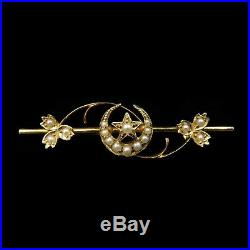 Antique Victorian Pearl Crescent Moon & Star 15ct 15K Yellow Gold Bar Brooch Pin