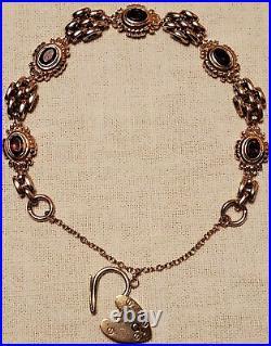 Antique Victorian Solid 9k Rose Gold Bar Gate Bracelet Padlock 25.35 Gram 7.5